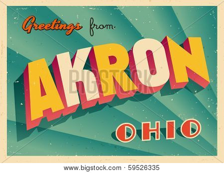 Vintage Touristic Greeting Card - Akron, Ohio - Vector EPS10. Grunge effects can be easily removed for a brand new, clean sign.