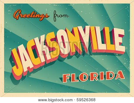 Vintage Touristic Greeting Card - Jacksonville, Florida - Vector EPS10. Grunge effects can be easily removed for a brand new, clean sign.