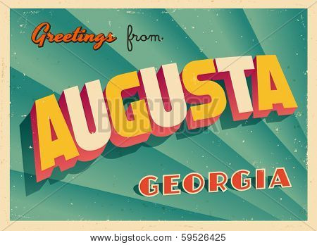 Vintage Touristic Greeting Card - Augusta, Georgia - Vector EPS10. Grunge effects can be easily removed for a brand new, clean sign.