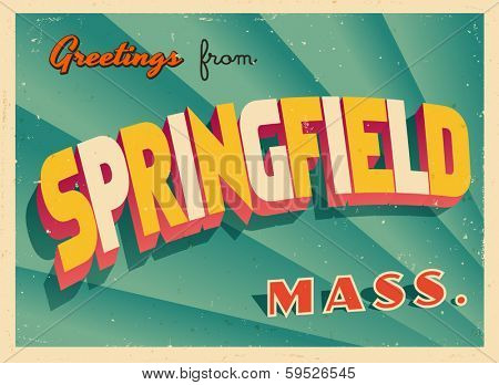 Vintage Touristic Greeting Card - Springfield, Massachusetts - Vector EPS10. Grunge effects can be easily removed for a brand new, clean sign.