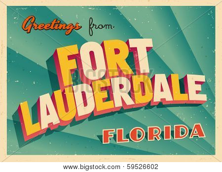 Vintage Touristic Greeting Card - Fort Lauderdale, Florida - Vector EPS10. Grunge effects can be easily removed for a brand new, clean sign.