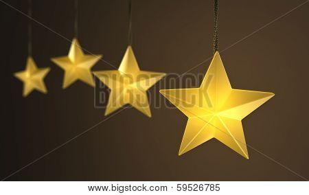 Hanging Star Shaped String Lights Over Dark Background