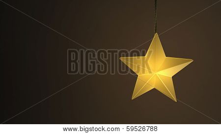 Single Yellow Hanging Star Light Over A Dark Background