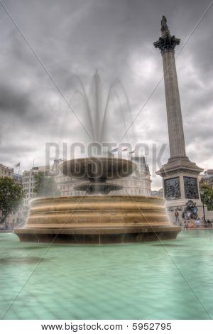 Fountain And Nelson's Column On Trafalgar Square