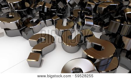 Many Question Marks Piled Up On A White Background