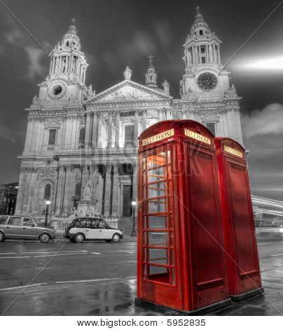 Phone Booths And St Paul's Cathedral