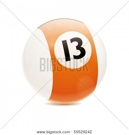 Hyperrealistic Billiard Ball. Detailed vector illustration of orange number 13 cue sports ball isolated on white
