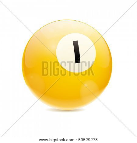 Hyperrealistic Billiard Ball. Detailed vector illustration of yellow number 1 cue sports ball isolated on white