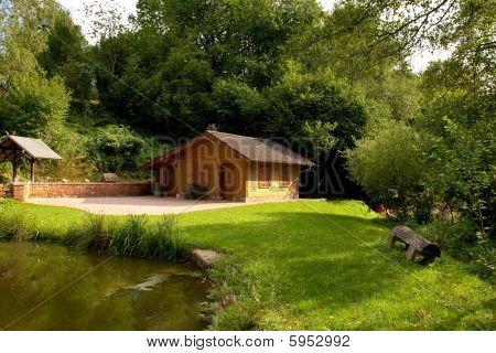 fishing cabin on lake