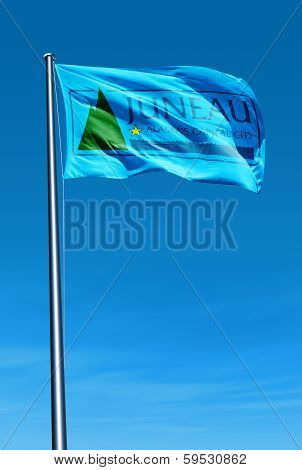 Juneau Alaska (USA) flag waving on the wind