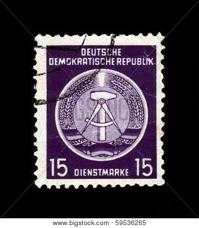 Gdr National Coat Of Arms, Violet Background