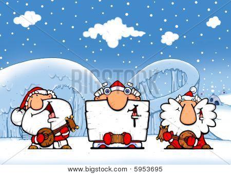 Ice performance - santas-musicians