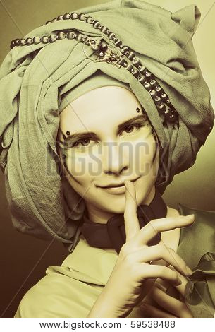 Young woman in turban