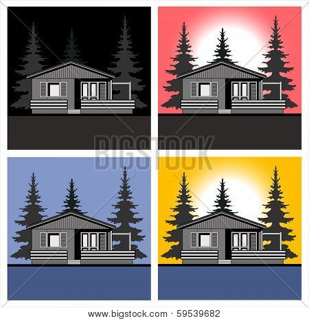 Landscape house theme vector