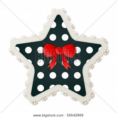 Star Shaped Polka Dot Patch