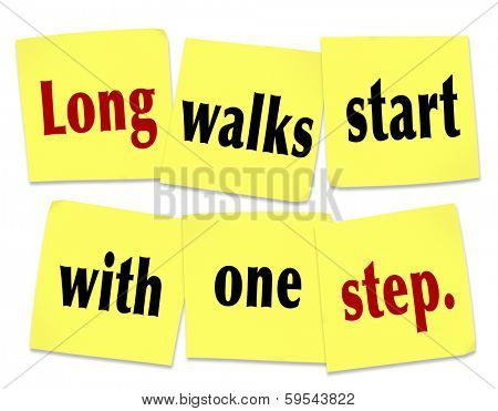 Long Walks Start With One Step Saying Quote Yellow Sticky Notes