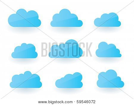 Set of nine fluffy modern cloud illustrations