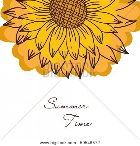 Bright summer card with hand drawn sunflower