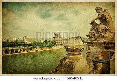 The Louvre Museum, Paris. Vintage photo