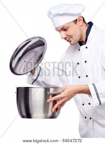 happy chief with pot in his hand isolated over white