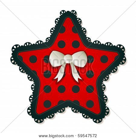 Star Shaped Red Polka Dot Patch