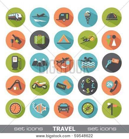 Travel icons. Set of modern flat design elements.