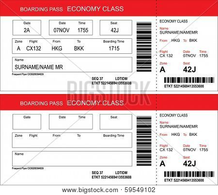 Vector image of airline boarding pass tickets with barcode