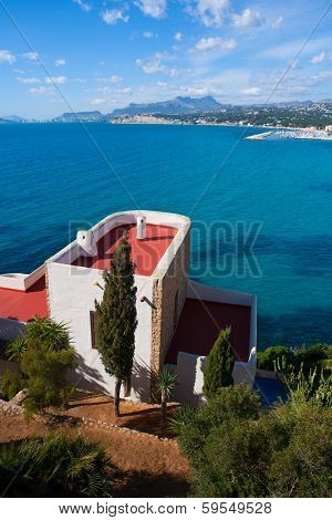 Moraira Alicante high angle view mediterranean houses in Spain