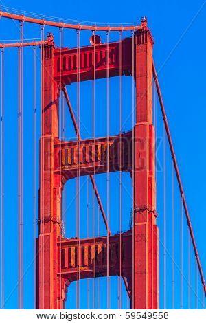 Golden Gate Bridge details in San Francisco California USA