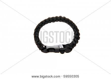Genuine Black Para shoot Cord Survival Bracelets. Survival Bracelets AKA Wrist Bands are perfect for any hunter, camper, Dooms Day Expert and more.  Isolated on white with room for your text.