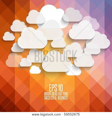 Abstract, vintage geometric background with clouds