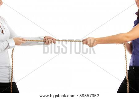 Two businesswoman  competition . Isolated on white background