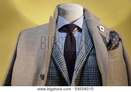 Beige Coat & Checkered Jacket