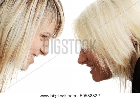 Two woman competition. Isolated on white background