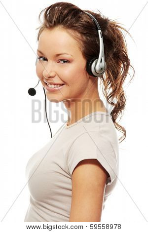 Beautiful Call Center Woman Wearing A Telephone Headset, isolated on white background