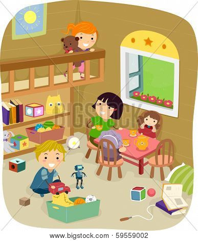 Illustration of a Group of Kids Playing in the Play Room