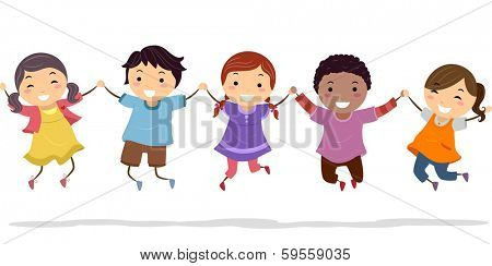 Illustration of Kids Holding Hands While Doing a Jump Shot