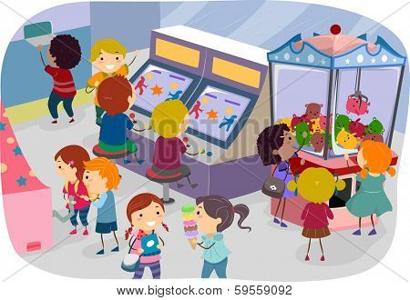 Illustration of Kids Enjoying a Day at the Arcade
