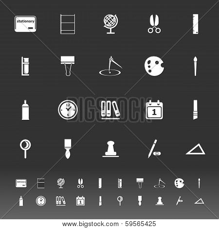 General Stationary Icons On Gray Background