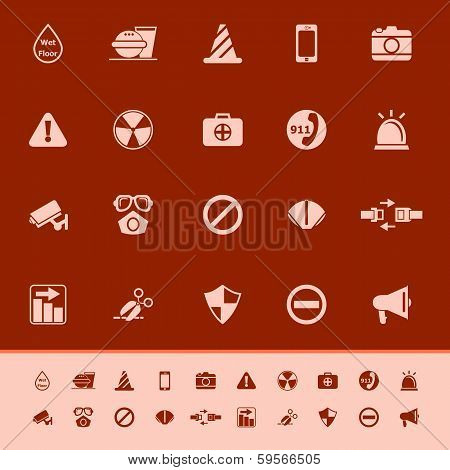 General Useful Color Icons On Red Background