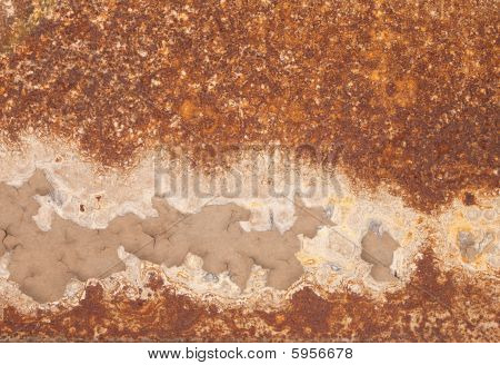 Rusty Iron With Peeled Paint And Corrosion Stains Background