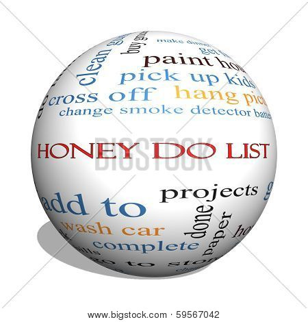 Honey Do List 3D Sphere Word Cloud Concept