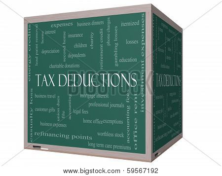 Tax Deductions Word Cloud Concept On A 3D Cube Blackboard