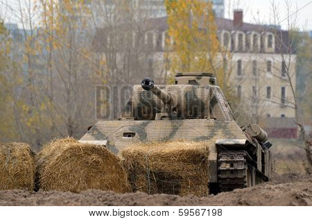 Kiev, Ukraine - November 1: German historical military transport is displayed on the Field of Battle military history festival on November 1 , 2013 in Kiev, Ukraine