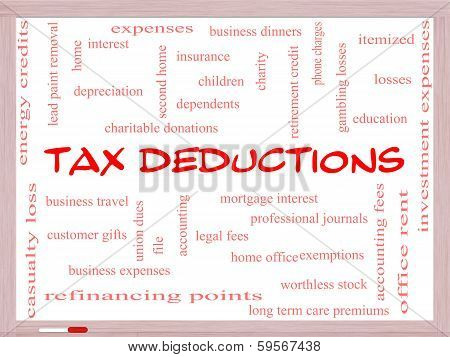 Tax Deductions Word Cloud Concept On A Whiteboard