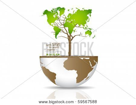 Tree on a globe. Vector illustration.