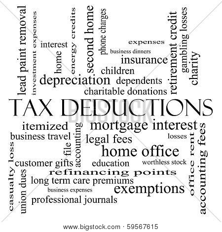 Tax Deductions Word Cloud Concept In Black And White