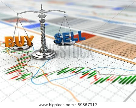 Stock market concept. Scale on financial graph. 3d