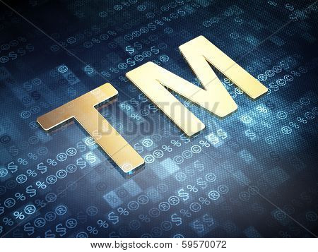 Law concept: Golden Trademark on digital background