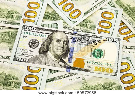 New Edition 100 Dollar Banknotes, Currency For Banking And Financial Concept
